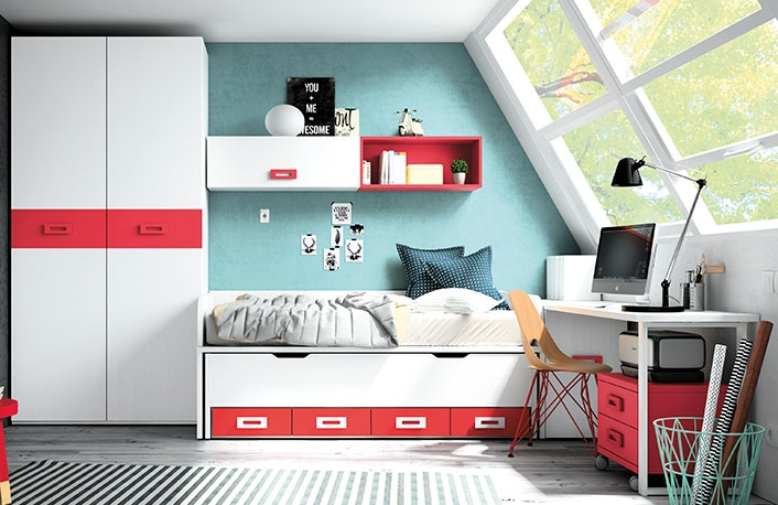 Dormitorio juvenil blanco rojo