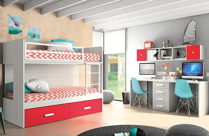 Dormitorio juvenil hibernian rojo