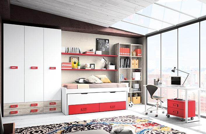 Dormitorio juvenil vintage rojo