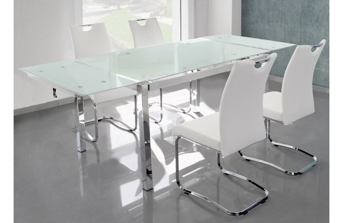 Mesa comedor extensible de cristal blanco o negro
