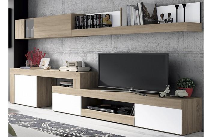 Mueble de salon minimalista color cambrian y blanco