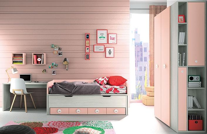 Dormitorio juvenil caledonian rosa