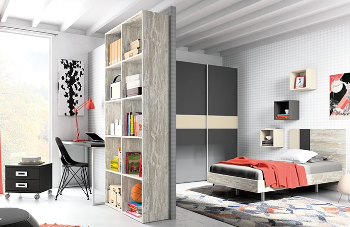 Dormitorio juvenil vintage grafito