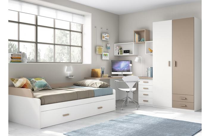 Mueble juvenil con cama nido escritorio y armario