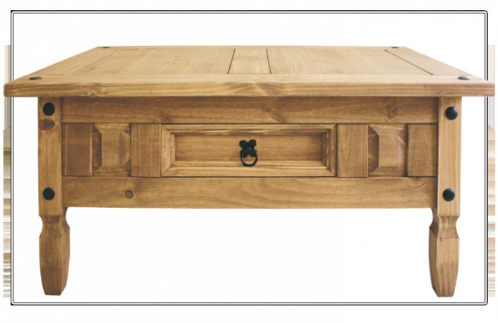 Mesa centro madera maciza estilo rustico con cajon