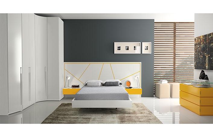 Dormitorio moderno armario rincon blanco mostaza
