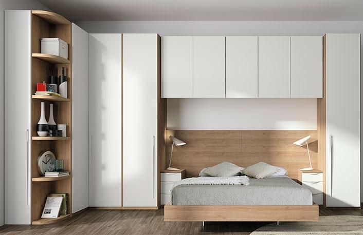 Dormitorio puente moderno nogal blanco