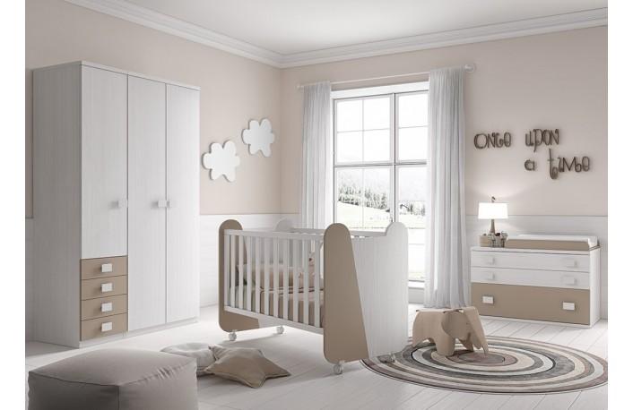 Dormitorio infantil con cuna bebe comoda y armario