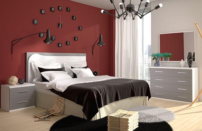 Dormitorio matrimonio cabecero relieve bicolor con comoda