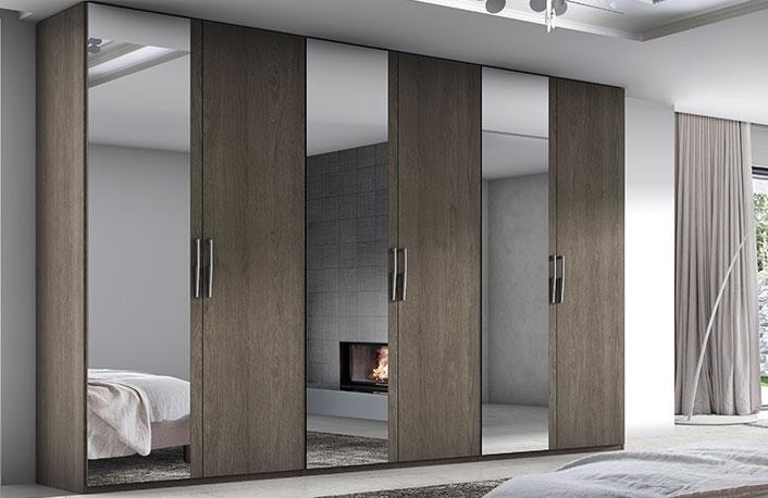 Armarios de seis puertas con espejo en madera de acacia